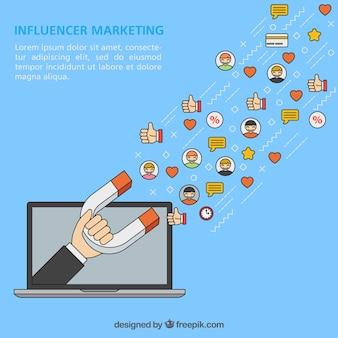 Vector de marketing Influencer com laptop e ímã