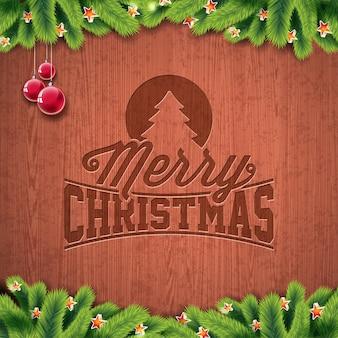 Vector Feliz feriado de Natal e ilustração do ano novo feliz com design tipográfico gravado e flocos de neve no fundo de madeira do wintage.