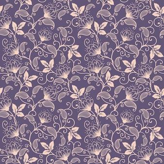 Vector flor padrão padrão sem costura. Textura elegante para fundos. Ornamento floral de moda clássica de luxo, textura sem costura para papéis de parede, têxteis, embrulho.