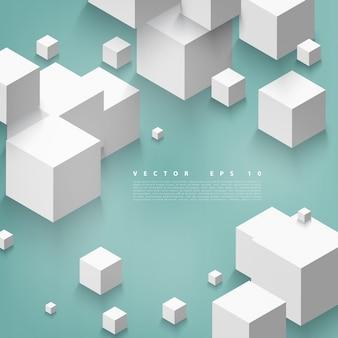 Vector Forma abstrata geométrica de cubos cinzentos.