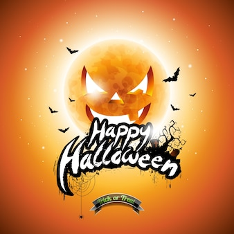 Vector ilustração feliz do Dia das Bruxas com elementos tipográficos e lua de abóbora no fundo laranja.