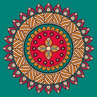 Vector Mandala Ornamento redondo em estilo étnico Desenho de mão
