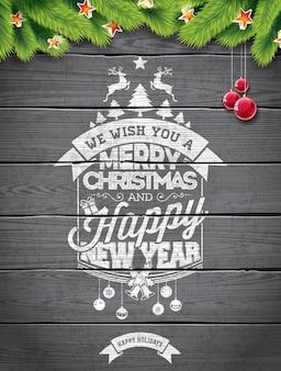 Vector Merry Christmas Holiday e ilustração do ano novo feliz com design tipográfico e flocos de neve no fundo da madeira do wintage.