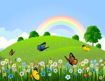 vector paisagem verde com borboletas e arco-íris