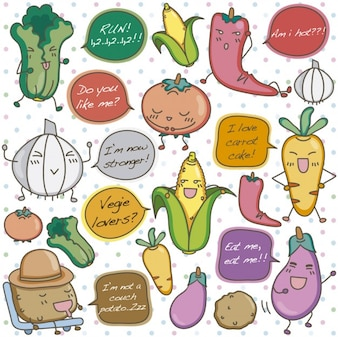 Vegetais engraçados ilustração