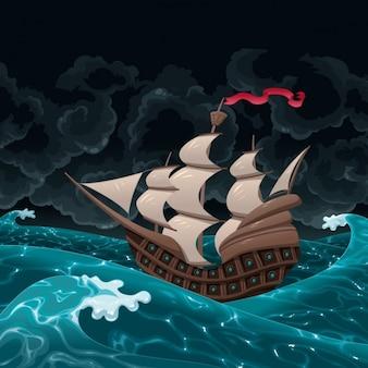 Vela navio no mar