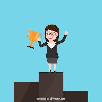 Vencedor, negócio, mulher, personagem