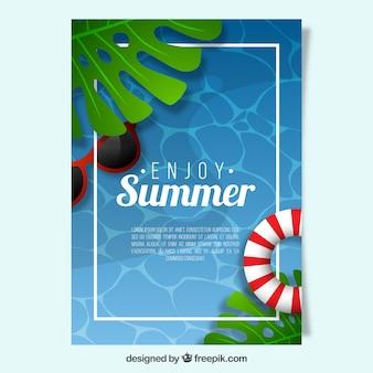 Verão, cartaz, flutuador, óculos de sol
