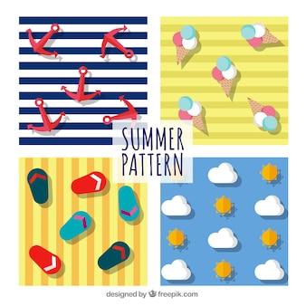 Verão, elementos, listras, Padrão, fundo
