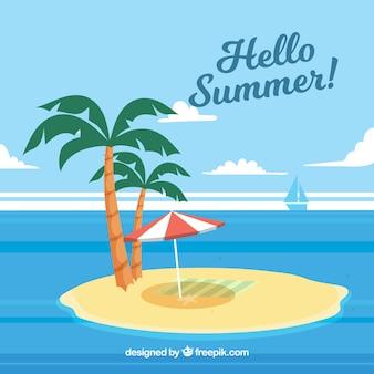 Verão, fundo, ilha, palma, árvores