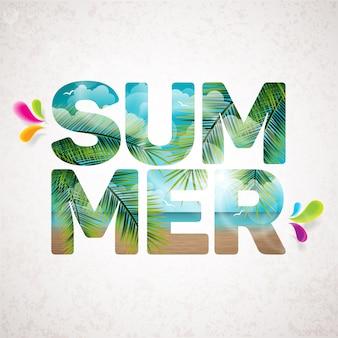 Verão, letras, palma, árvore, fundo