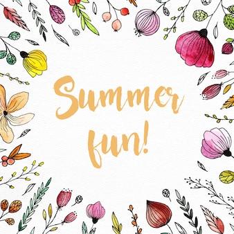 Verão, mão, pintado, floral, desenhos