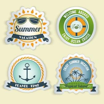 Verão, mar, retro, férias, viagem, tempo, ilha tropical, emblemas, jogo, isolado, vetorial, Ilustração