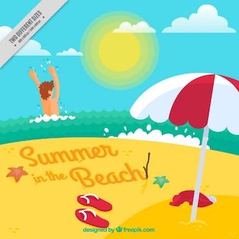Verão no fundo da praia no design plano