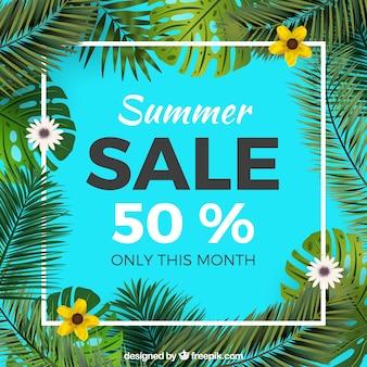 Verão, venda, fundo, palma, folhas, flores