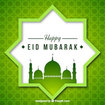 Verde, mosaico, fundo, eid, mubarak