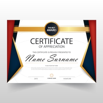 Vermelho azul ELegant certificado horizontal com ilustração do vetor
