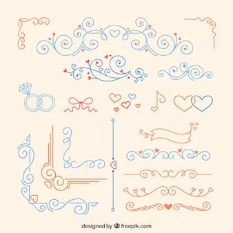Vermelho e azul ornamento do casamento