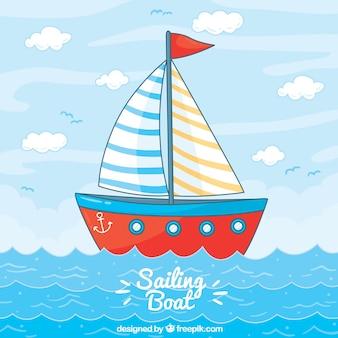 Vermelho, velejando, bote, fundo