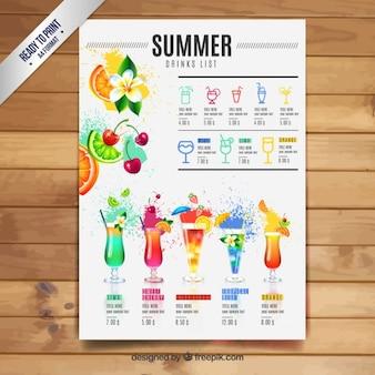 Verão lista de bebidas