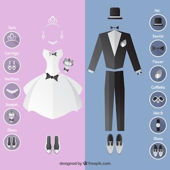 Vestido de noiva e terno com acessórios