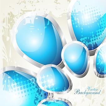 Vetor bonito design de forma de cristal de cor azul