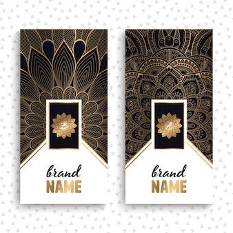 Vetor cartões de visita Elementos decorativos do vintage com mandala
