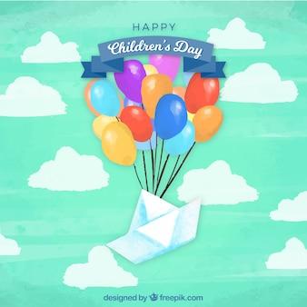 Vetor do dia das crianças com globos