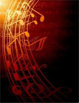 Vetor livre lindo clássica música de fundo vermelho, preto tremor pentagrama amarelo escuro