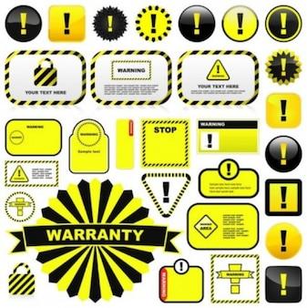 Vetor livre vetor misc amarelas sinais de alerta e etiquetas 01 vector
