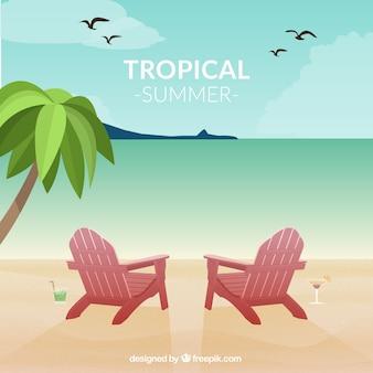 Vetor seascape tropical cartão do divertimento