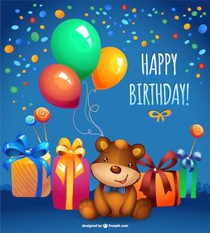 Vetor teddy bear cartão de aniversário