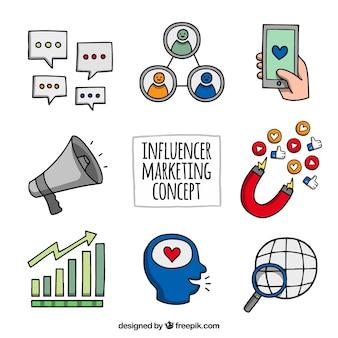 Vetores de marketing Influencer