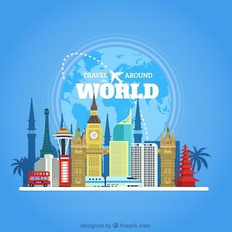Viagem ao redor do mundo com monumentos em design plano
