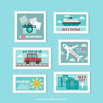 Viagem coleção de selos plana