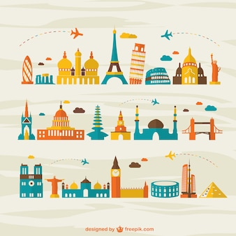 Viagens aéreas marco turismo vetor