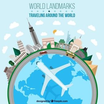 Viajando ao redor do mundo em design plano