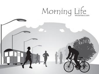 Vida manhã preto e branco na cidade