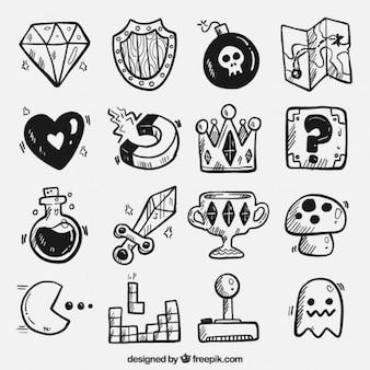 Vídeo jogo mão objetos desenhados