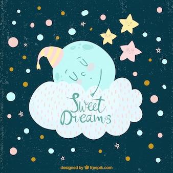 Vindima, fundo, lua, dormir, nuvem