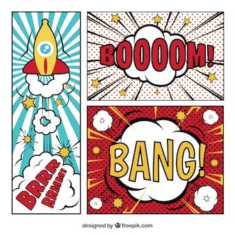 Vinhetas em quadrinhos do vintage com onomatopéias