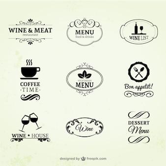Vinho vintage, restaurante e café rótulos