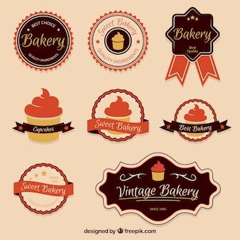 Vintage coleção emblemas de padaria