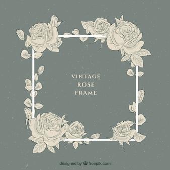 Vintage frame com rosas desenhadas mão