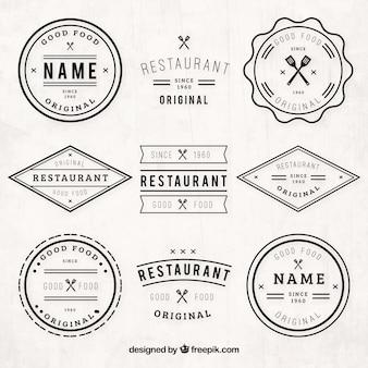 Vintage pacote logos restaurante