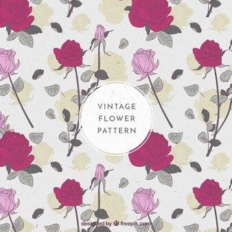 Vintage padrão de rosas com folhas
