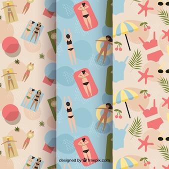 Vintage padrões de pessoas na praia