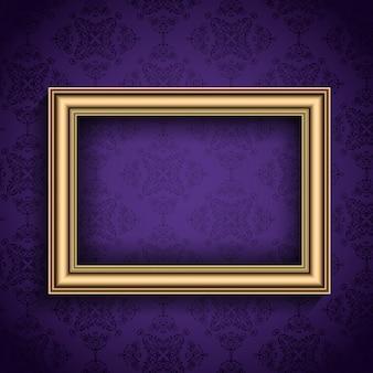 Vintage picture frame em um estilo do papel de parede do damasco