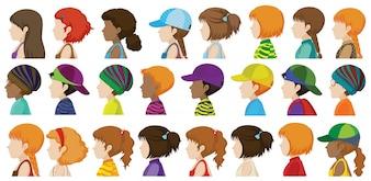 Vista lateral dos diferentes rostos dos seres humanos sobre um fundo branco