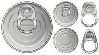 Vista superior das latas e abridores de alumínio
